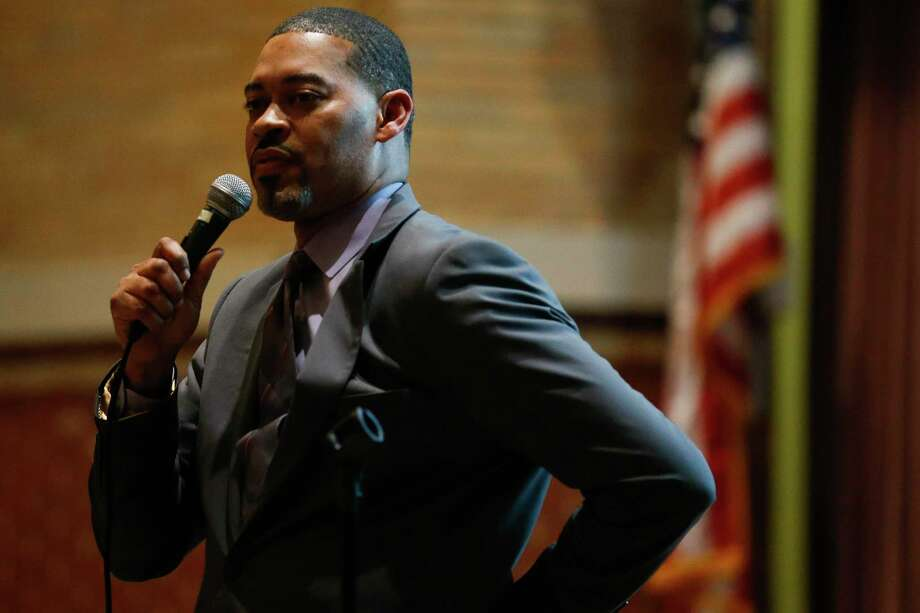 In this 2018 file photo, Wheatley High School Principal Joseph Williams speaks during a community meeting where Houston ISD administrators discussed surrendering control over hiring, curriculum and governance at eight schools. Wheatley is one of four HISD schools that must meet state academic standards this year to avoid triggering state sanctions. Photo: Michael Ciaglo, Staff Photographer / Houston Chronicle / Michael Ciaglo