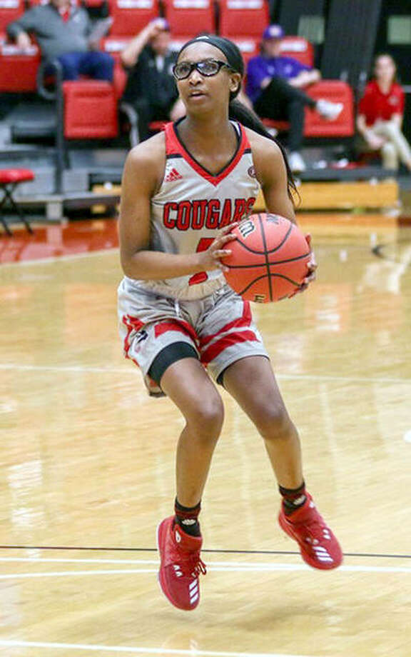 Jay'nee Alston made two free throws with 2.6 seconds left in SIUE's Ohio Valley Conference victory at Jacksonville State. She is shown in action earlier this season against McKendree. Photo: SIUE Athletics