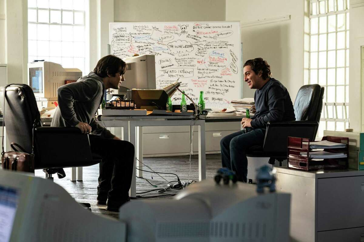 Dakota Shapiro (left) as Stephan Paternot and Oliver Cooper as Todd Krizelman, co-founders of Theglobe.com, in an intriguing narrative about the early days of the internet.