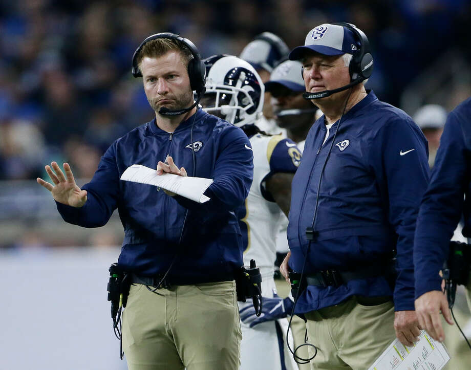 Los Angeles Rams head coach Sean McVay motions to his team with defensive coordinator Wade Phillips, right, during the second half of an NFL football game, Sunday, Dec. 2, 2018, in Detroit. (AP Photo/Duane Burleson) Photo: Duane Burleson, Associated Press