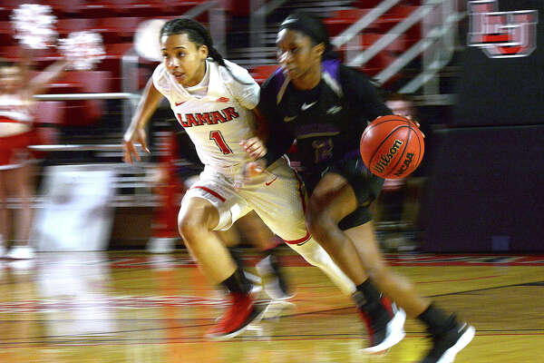 Lamar's Jadyn Pimentel paces Central Arkansas' during their match-up at the Montagne Center Saturday. Photo taken Saturday, January 12, 2019 Photo by Kim Brent/The Enterprise