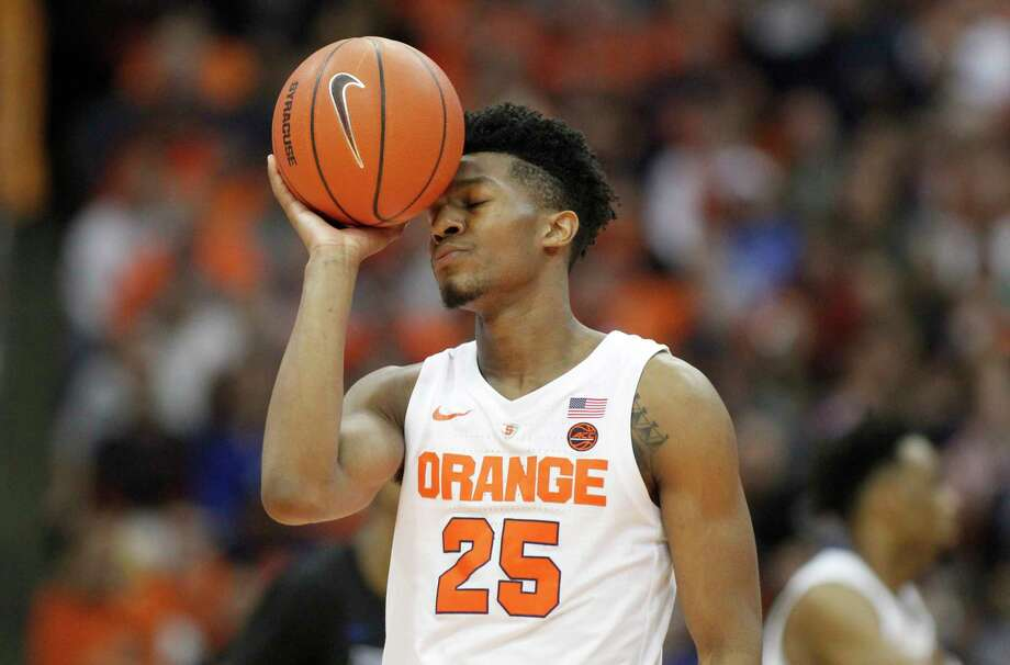 Syracuse's Tyus Battle shows his frustration late in the second half of an NCAA college basketball game against Buffalo in Syracuse, N.Y., Tuesday, Dec. 18, 2018. Buffalo won 71-59. (AP Photo/Nick Lisi) Photo: Nick Lisi / Copyright 2018 The Associated Press All rights reserved