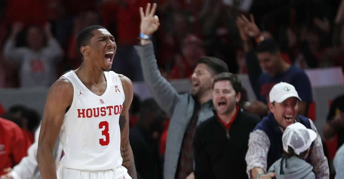 Houston Cougars guard Armoni Brooks (3) screams after his three-pointer put the Cougars on top during the second half of an NCAA Men's basketball game at Fertitta Center, Saturday, Jan. 12, 2019, in Houston. Houston won the game against Wichita State Shockers 79-70.