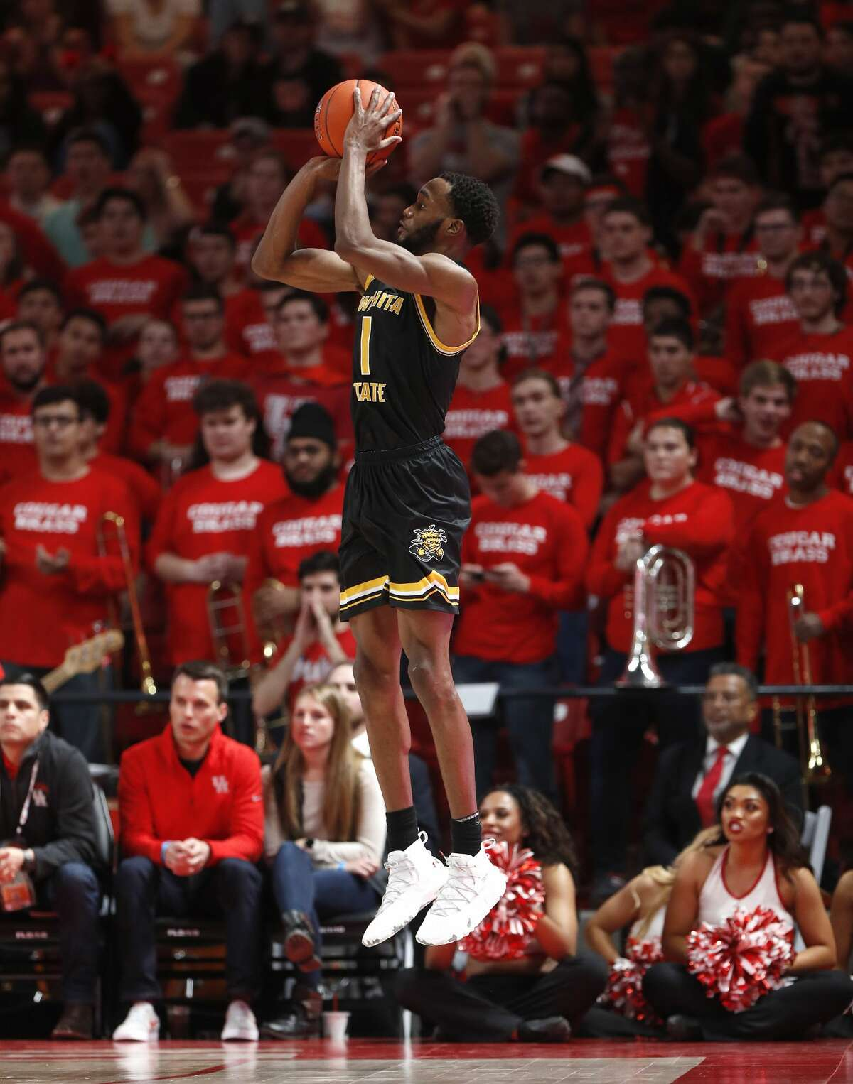 Wichita State Shockers forward Markis McDuffie (1) puts up a three-pointer during the second half of an NCAA Men's basketball game at Fertitta Center, Saturday, Jan. 12, 2019, in Houston. Houston won the game against Wichita State Shockers 79-70.