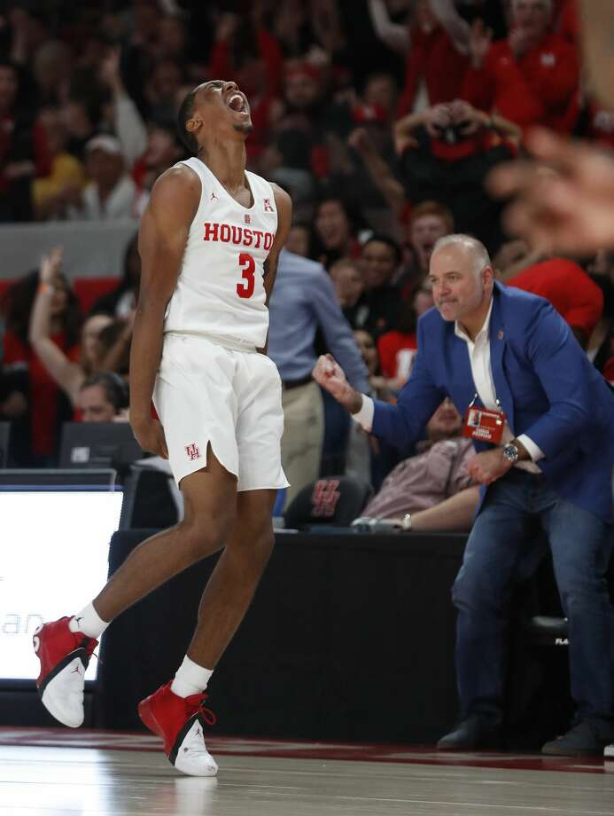 Houston Cougars guard Armoni Brooks (3) screams after his three-pointer put the Cougars on top during the second half of an NCAA Men's basketball game at Fertitta Center, Saturday, Jan. 12, 2019, in Houston.  Houston won the game against Wichita State Shockers 79-70. Photo: Karen Warren/Staff Photographer