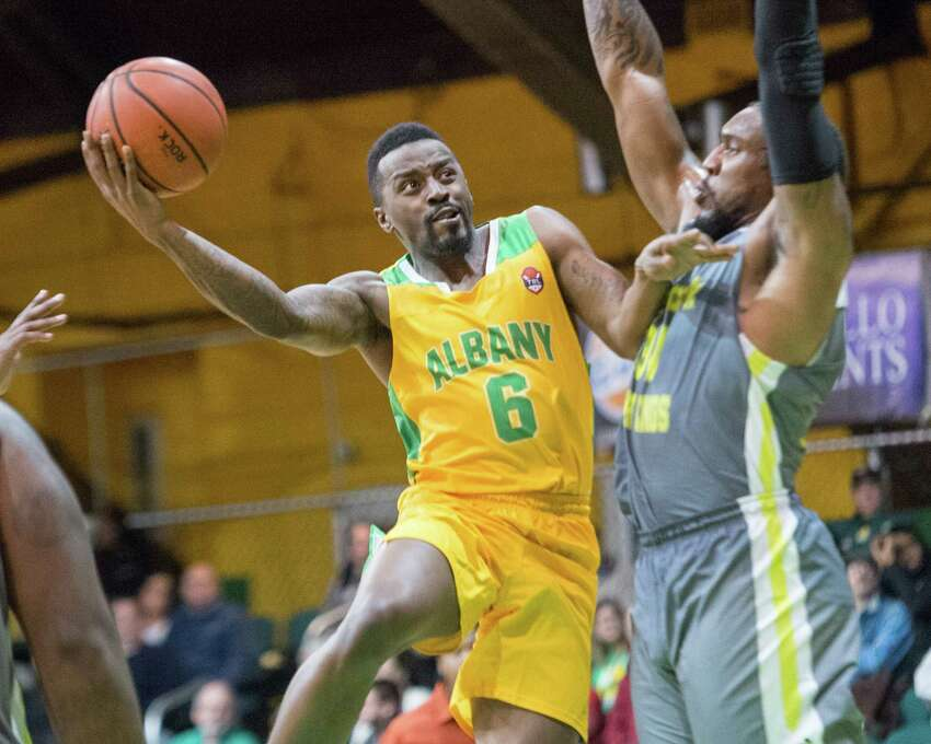 Albany guard Joshua Cameron makesa move during the Albany Patroons' home opener against the New York Court Kings on Saturday, Jan. 12 at Washington Avenue Armory. (Jim Franco / Special to the Times Union)