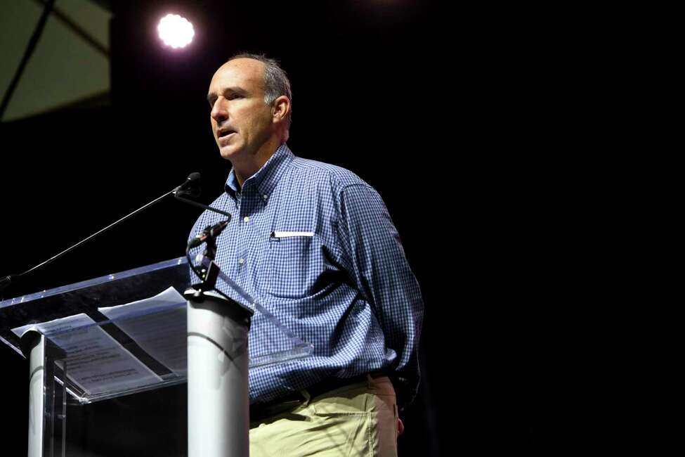 In this Nov. 13, 2018 photo, James Grein tells the audience gathered at the Silence Stops Now rally, at MECU Pavilion in Baltimore, that he was sexually abused for years by ex-Cardinal Theodore McCarrick. In December 2018, Grein gave testimony in New York to Manhattan Assistant District Attorney Sara Sullivan, who is investigating a broad range of issues related to clergy abuse and the systematic cover-up by church superiors, Grein's attorney, Patrick Noaker, told The Associated Press. (Katherine Frey/The Washington Post via AP, File)