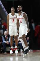 Houston Cougars guard Corey Davis Jr. (5) reacts after his three-pointer during the second half of an NCAA Men's basketball game at Fertitta Center, Saturday, Jan. 12, 2019, in Houston. Houston won the game against Wichita State Shockers 79-70.