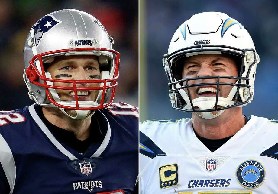FILE - At left, in a Dec. 2, 2018, file photo, New England Patriots quarterback Tom Brady smiles after a touchdown during an NFL football game against the Minnesota Vikings, in Foxborough, Mass. At right, in a Jan. 6, 2019, file photo, Los Angeles Chargers quarterback Philip Rivers walks on the field in the second half of an NFL wild card playoff football game against the Baltimore Ravens, in Baltimore. The Chargers and Patriots meet in a divisional playoff game on Sunday, Jan. 13, 2019. (AP Photo/File) / Panini