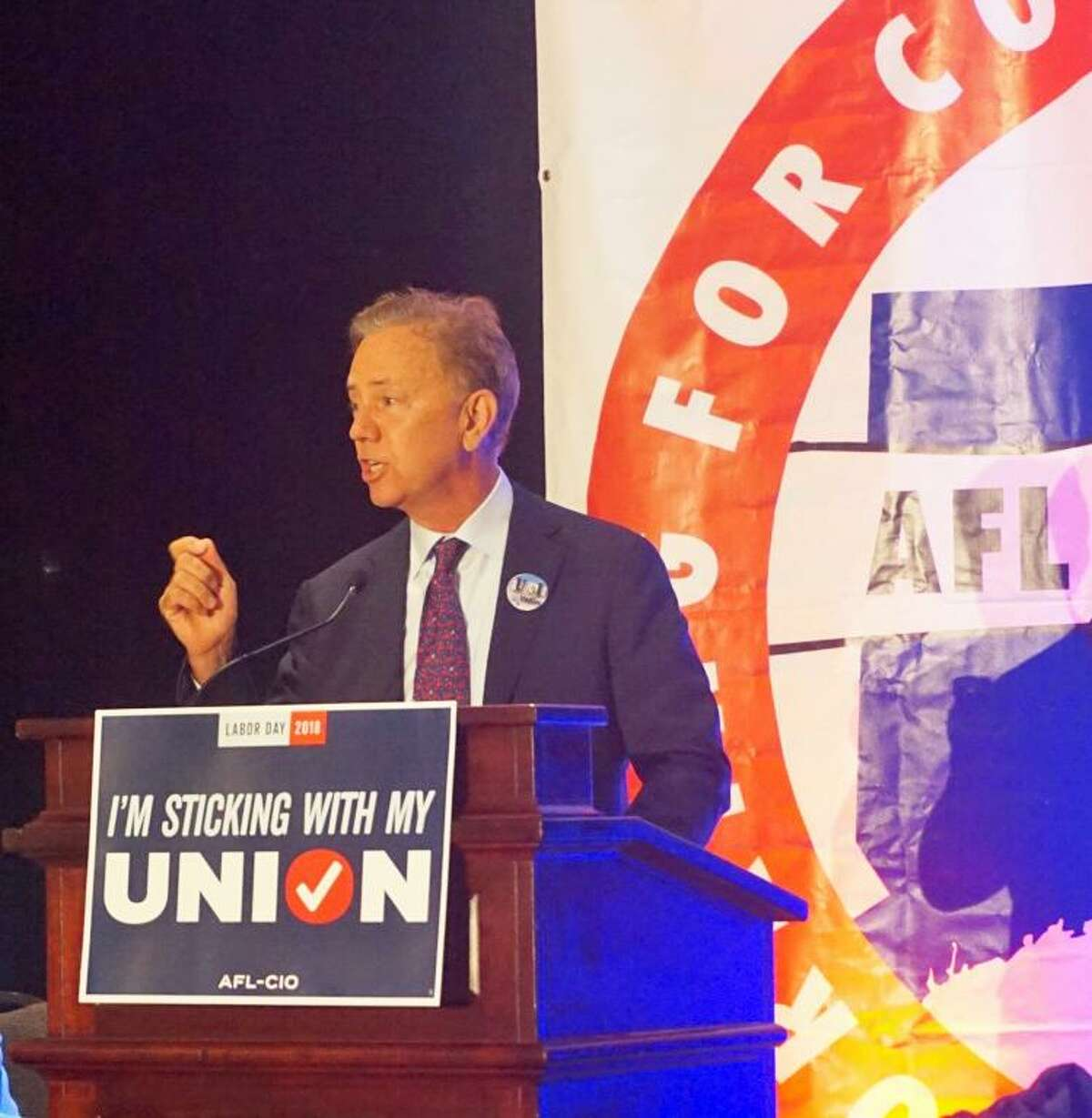Ned Lamont, Democratic nominee for governor, spoke at a political convention of the Connecticut AFL-CIO at the Hartford Hilton Hotel on Friday August 31, 2018.