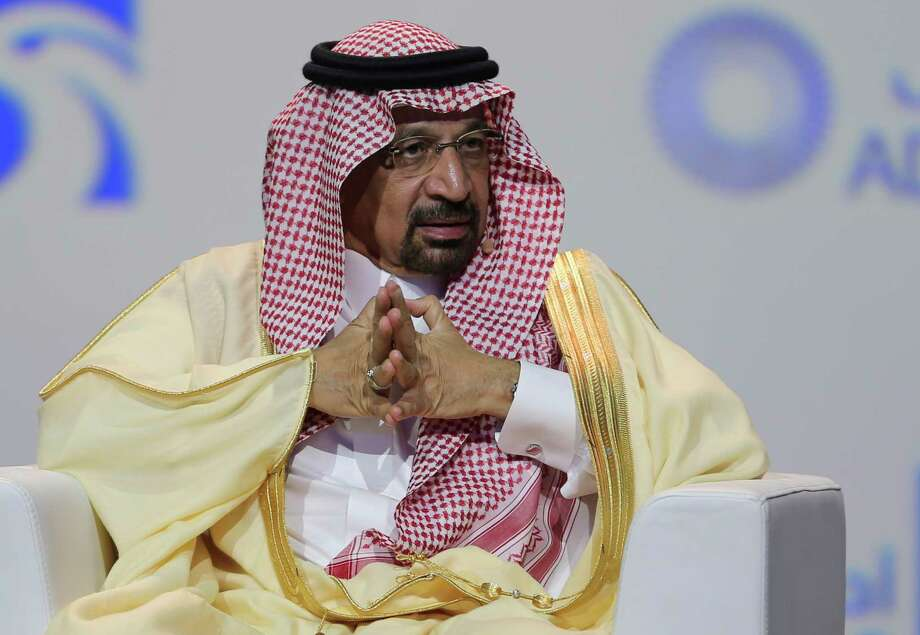 "FILE - In this Nov.12, 2018 file photo, Khalid Al-Falih, Saudi Energy and Oil Minister, speaks at the Abu Dhabi International Exhibition & Conference, in Abu Dhabi, United Arab Emirates. Al-Falih said Sunday, Jan. 13, 2019, at the Atlantic Council's Global Energy Forum in Abu Dhabi that he's not happy with the ""range of volatility"" seen over the past two to three years. Cautious not to set a price target or range for oil, he explained there are consequences when energy prices dip too low or rise too high. Photo: Kamran Jebreili, AP / Copyright 2018 The Associated Press. All rights reserved."