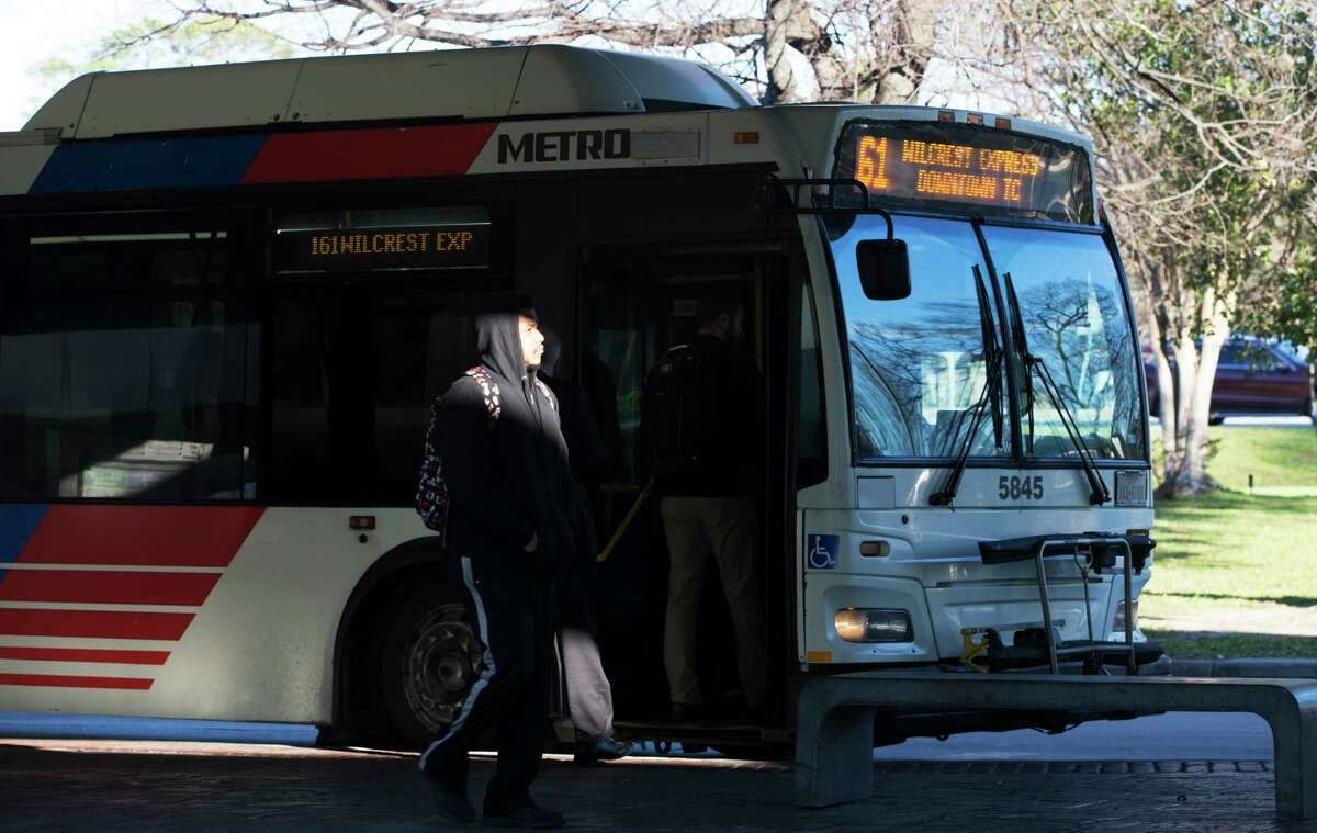 Passengers makes Metropolitan Transit Authority bus connections at the Northwest Transit Center on Jan. 10. The transit center is a critical hub for future bus and rail plans.