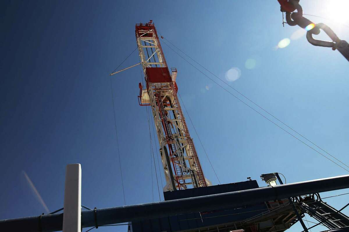 The Patterson 298 natural gas fueled drilling rig drills on land in the Permian Basin. NEXT: Scenes from the Permian Basin Oil Show.