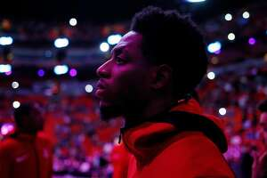 MIAMI, FL - DECEMBER 20:  Brandon Knight #2 of the Houston Rockets looks on during the pregame introductions against the Miami Heat at American Airlines Arena on December 20, 2018 in Miami, Florida. NOTE TO USER: User expressly acknowledges and agrees that, by downloading and or using this photograph, User is consenting to the terms and conditions of the Getty Images License Agreement.  (Photo by Michael Reaves/Getty Images)