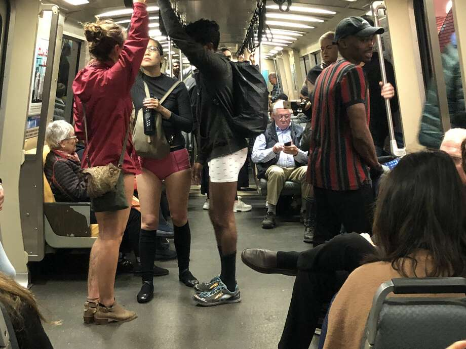 Dozens of pants-less people rode BART as part of a flash mob on Sunday, Jan. 13, 2019. Photo: Alix Martichoux / SFGATE
