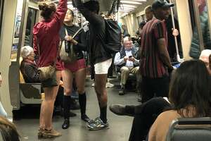 Dozens of pants-less people rode BART as part of a flash mob on Sunday, Jan. 13, 2019.