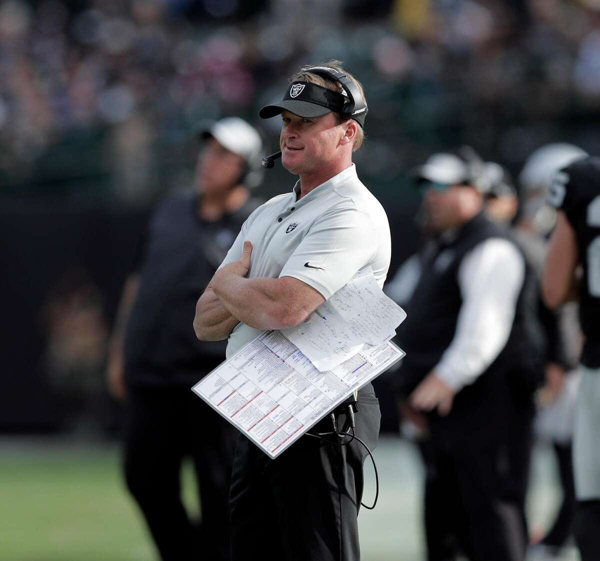 Raiders head coach Jon Gruden on the sidelines after his team fumbled the ball in the fourth quarter as the Oakland Raiders played the Indianapolis Colts at the Coliseum in Oakland, Calif., on Sunday, October 28, 2018. The Colts defeated the Raiders 42-28
