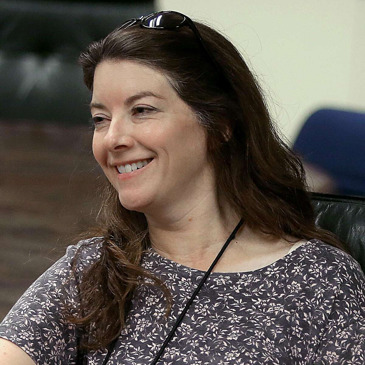 San Francisco Chronicle A's beat writer Susan Slusser has a meeting at a Chronicle conference room in San Francisco, Calif., on Tuesday, July 14, 2015.