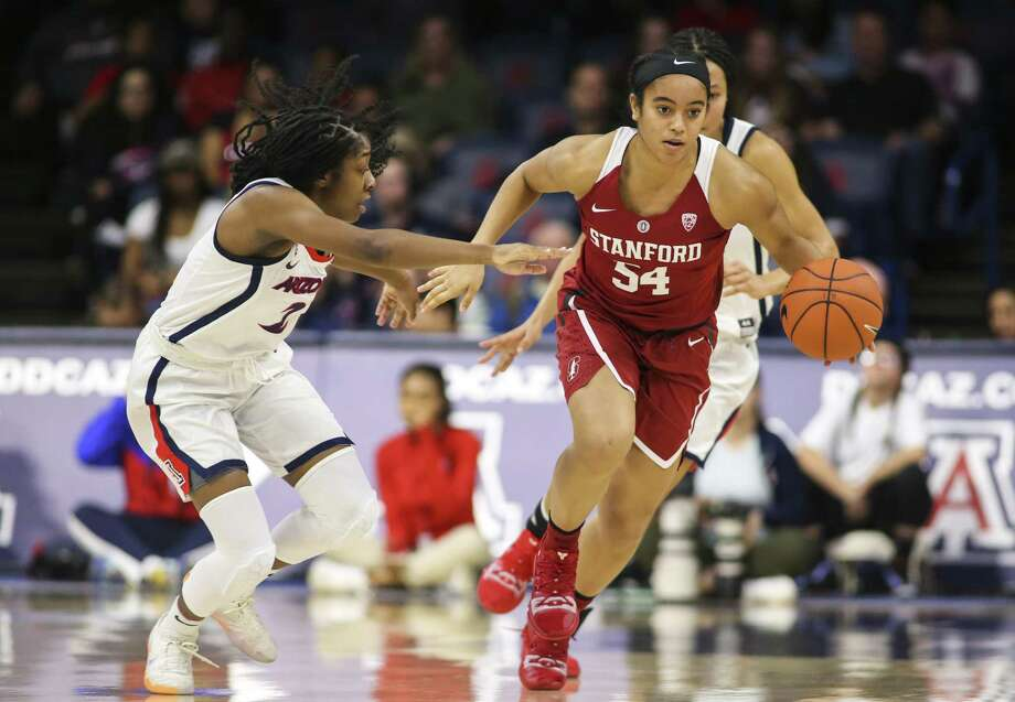 TUCSON, AZ - JANUARY 13: Stanford Cardinal guard Jenna Brown (54) dribbles the ball during a college women's basketball game between the Stanford Cardinal and the Arizona Wildcats on January 13, 2019, at McKale Center in Tucson, AZ. (Photo by Jacob Snow/Icon Sportswire via Getty Images) Photo: Icon Sportswire / Icon Sportswire Via Getty Images / ©Icon Sportswire (A Division of XML Team Solutions) All Rights Reserved
