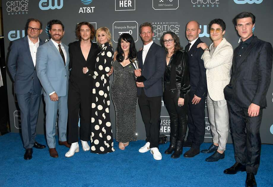 SANTA MONICA, CA - JANUARY 13:  (L-R) Brad Simpson, Edgar Ramirez, Cody Fern, Judith Light, Alexis Martin Woodall, Tom Rob Smith, Nina Jacobson, Daniel Minahan, Darren Criss, and Finn Wittrock, winners of the Best Limited Series award for 'The Assassination of Gianni Versace: American Crime Story,' pose in the press room during the 24th annual Critics' Choice Awards at Barker Hangar on January 13, 2019 in Santa Monica, California.  (Photo by Frazer Harrison/Getty Images) Photo: Frazer Harrison, Getty Images