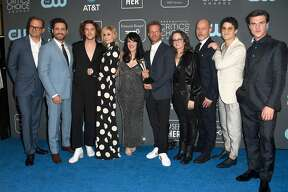 SANTA MONICA, CA - JANUARY 13: (L-R) Brad Simpson, Edgar Ramirez, Cody Fern, Judith Light, Alexis Martin Woodall, Tom Rob Smith, Nina Jacobson, Daniel Minahan, Darren Criss, and Finn Wittrock, winners of the Best Limited Series award for 'The Assassination of Gianni Versace: American Crime Story,' pose in the press room during the 24th annual Critics' Choice Awards at Barker Hangar on January 13, 2019 in Santa Monica, California. (Photo by Frazer Harrison/Getty Images)
