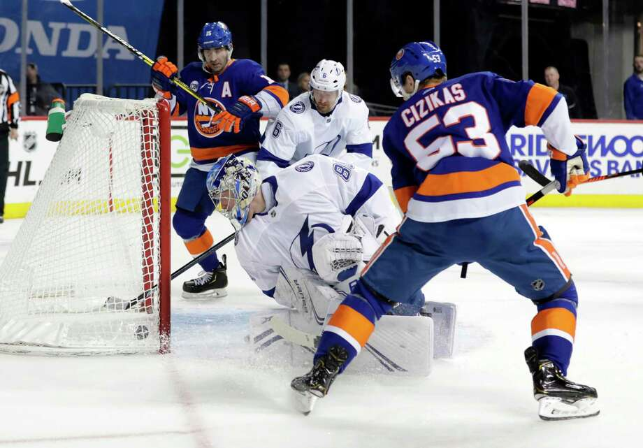 Tampa Bay Lightning goaltender Andrei Vasilevskiy (88) watches the puck shot by New York Islanders' Casey Cizikas (53) get past him for a goal during the second period of an NHL hockey game, Sunday, Jan. 13, 2019, in New York. (AP Photo/Frank Franklin II) Photo: Frank Franklin II / Copyright 2019 The Associated Press. All rights reserved