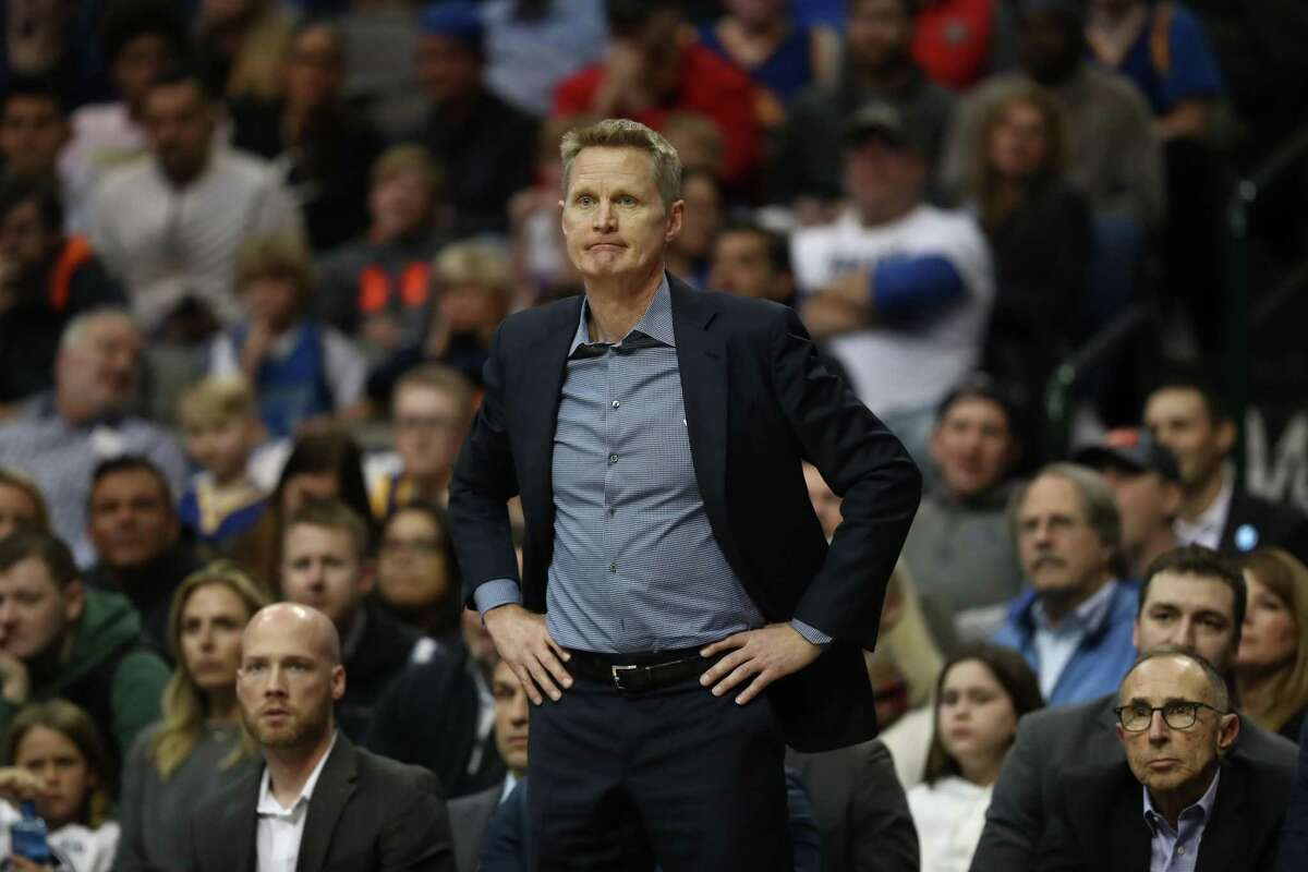 DALLAS, TEXAS - JANUARY 13: Steve Kerr of the Golden State Warriors at American Airlines Center on January 13, 2019 in Dallas, Texas. NOTE TO USER: User expressly acknowledges and agrees that, by downloading and or using this photograph, User is consenting to the terms and conditions of the Getty Images License Agreement. (Photo by Ronald Martinez/Getty Images)