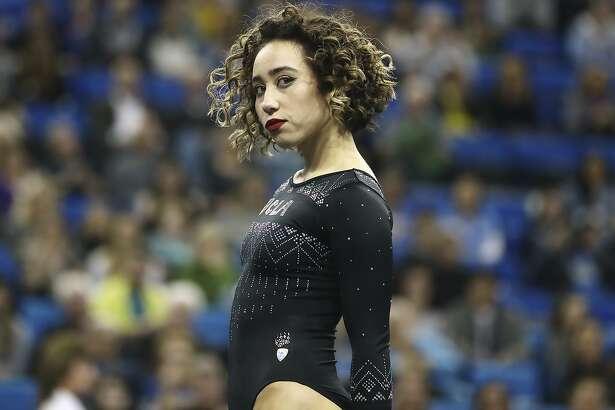 Katelyn Ohashi during an NCAA college gymnastics match, Friday, Jan. 4, 2019, in Los Angeles. (AP Photo/Ben Liebenberg)