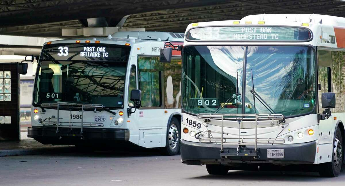 Metro buses are shown at the Northwest Transit Center on Jan. 9 in Houston.