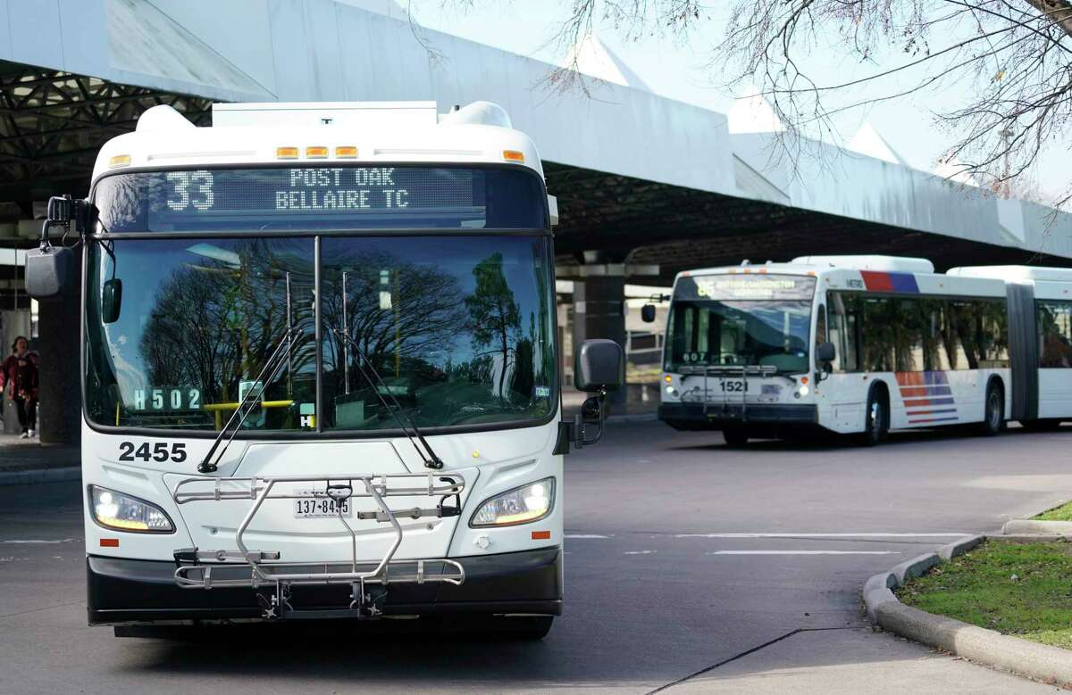 Metropolitan Transit Authority buses leave the Northwest Transit Center on Jan. 9. The transit center is a critical hub for future bus and rail plans as part of Metro's proposed capital projects.
