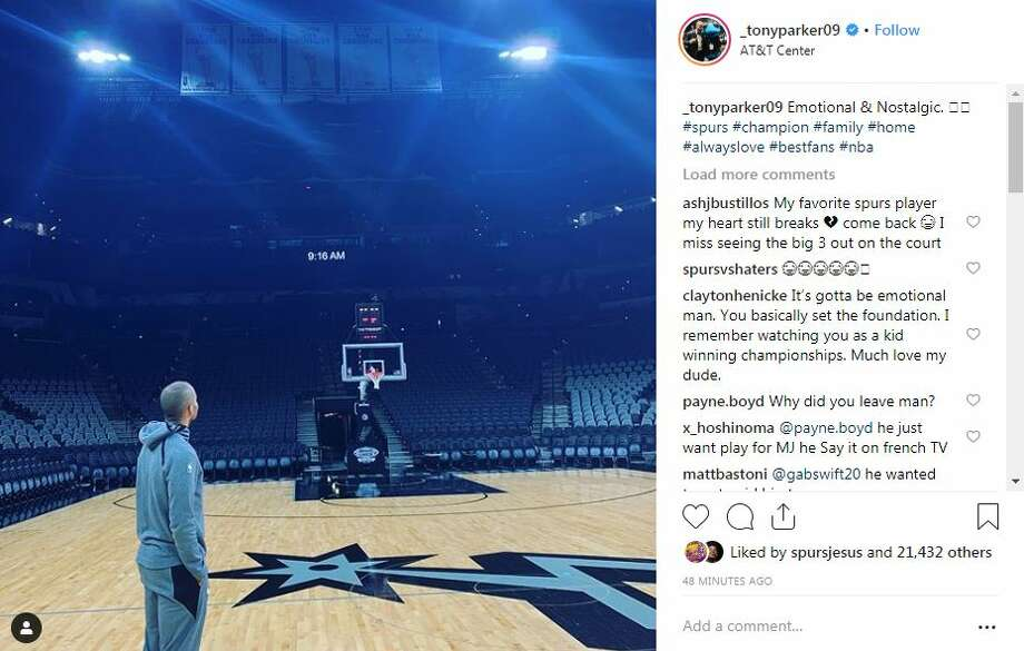 "Former Spur Tony Parker, one of the Big Three, will play against the San Antonio Spurs as a Charlotte Hornet for the first time Monday. He said in an Instagram Post that he was ""emotional & nostalgic"" upon returning to the AT&T Center before the game. Photo: Instagram Screengrab"
