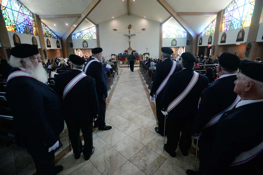Members of the Knights of Columbus line up at St. Joseph in Port Arthur on Sunday. The churched celebrated its first mass since Tropical Storm Harvey.  Photo taken Sunday, 1/13/19 Photo: Guiseppe Barranco/The Enterprise / Guiseppe Barranco ?