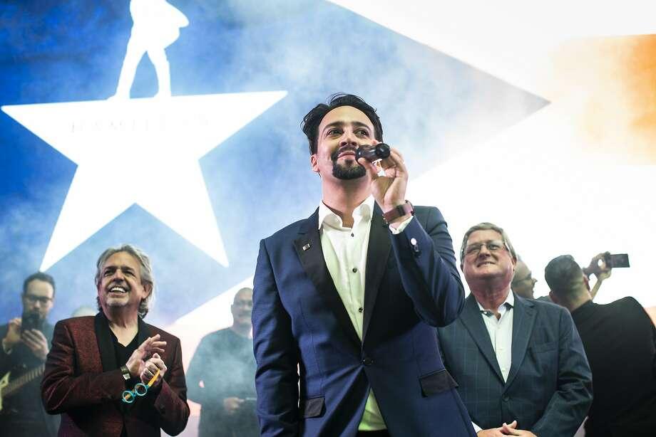 "Lin-Manuel Miranda speaks at an afterparty for the opening night of ""Hamilton"" in San Juan, Puerto Rico, Jan. 11, 2019. Photo: ERIKA P. RODRIGUEZ, NYT"