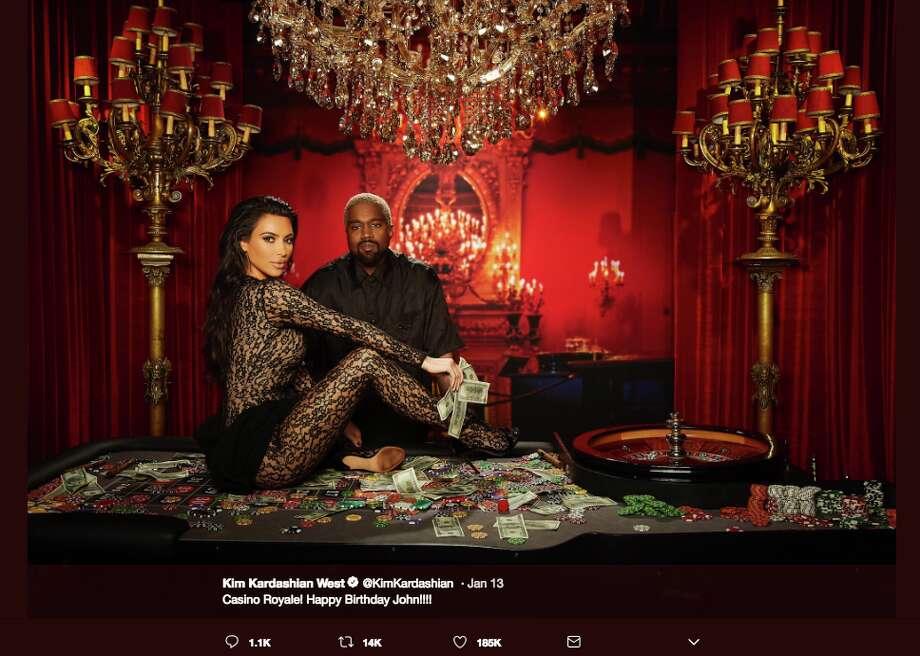 Kim Kardashian shared images on Twitter of she and her husband Kanye West at John Legend's 40th Birthday in Los Angeles on Jan. 12, 2019. Photo: Twitter Screen Grab /@KIMKARDASHIAN/INSTAGRAM