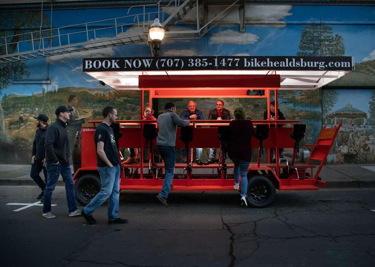 Riders board Bike Healdsburg on Saturday, Jan. 12, 2019, in Healdsburg, Calif.