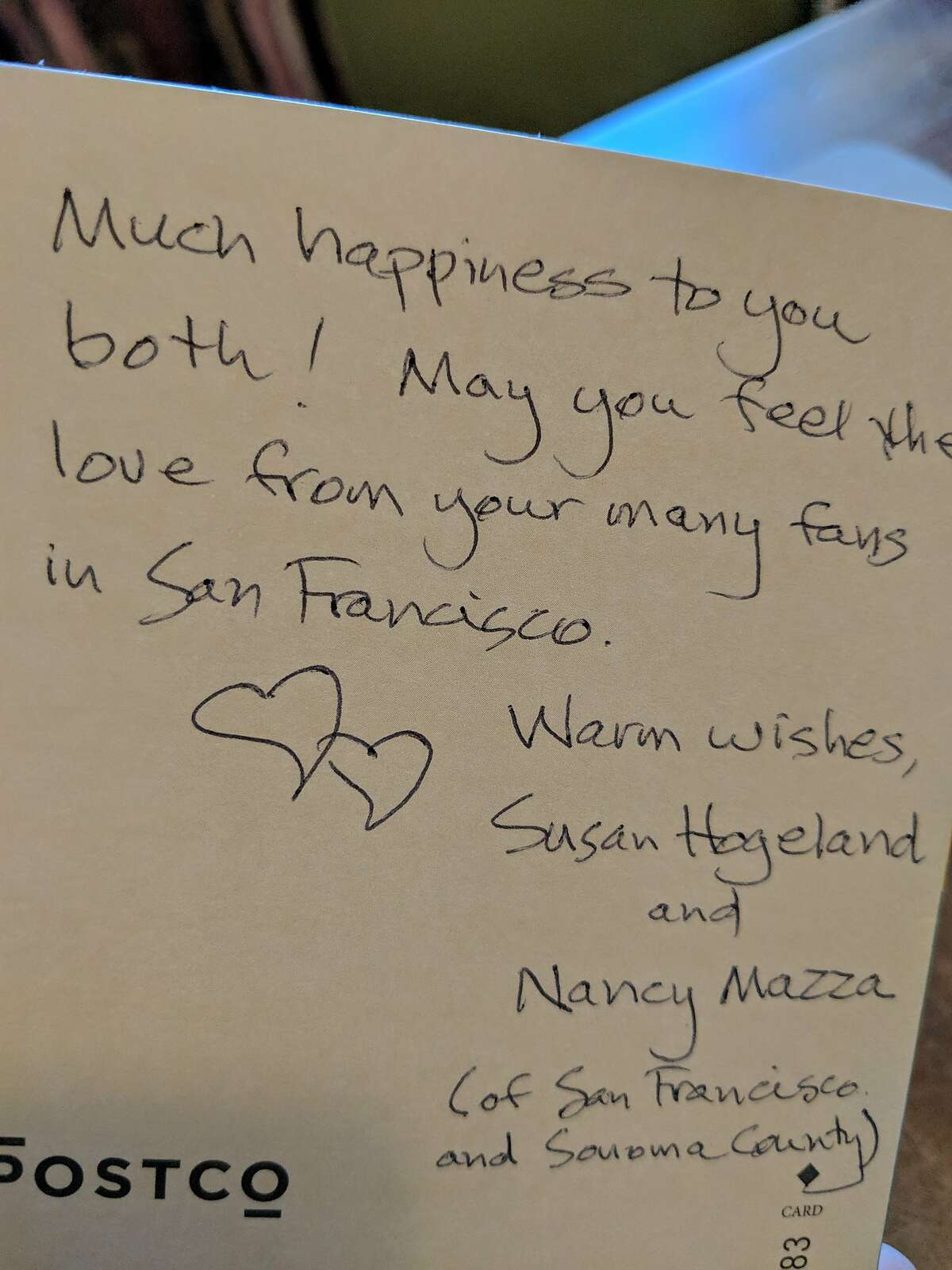 One of the notes received with a bouquet by Greg Scanlan and Brad Althoff on their wedding day.