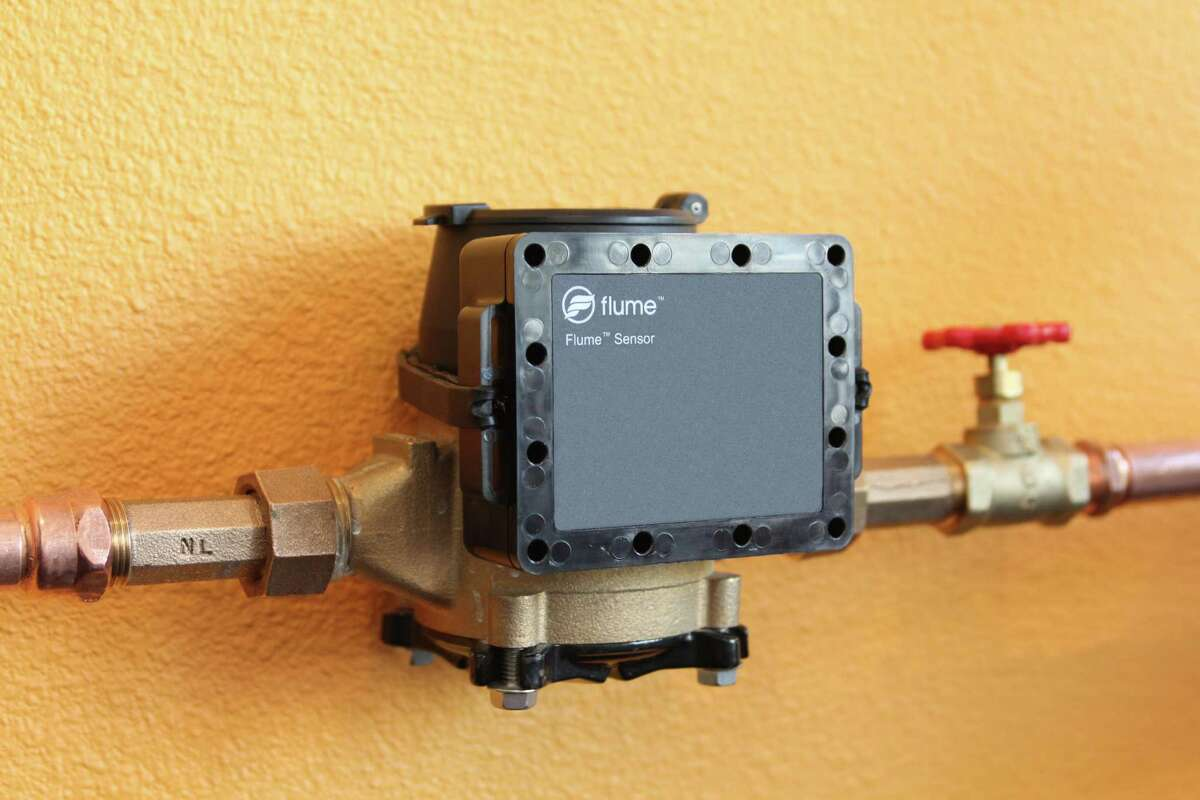 San Antonio Water System is pilot testing Flume water sensors, like this one installed on an above-ground water meter, to detect leaks and monitor water use.