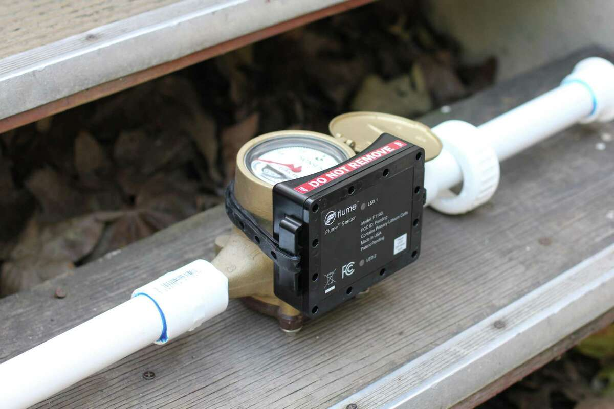 San Antonio Water System is pilot testing Flume water sensors, like this one installed on a water meter, to detect leaks and monitor water use.