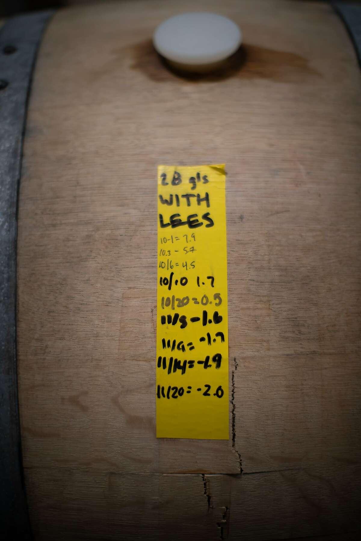 A log sheet taped to a wine barrel at Grand Cru Custom Crush, on Saturday, Jan. 12, 2019, in Healdsburg, Calif.
