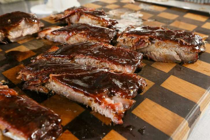 Sliced St. Louis-style pork ribs cooked by champion barbecue cook Corey Flores using the same recipe that was good enough to win first place out of more than 300 cooks in the 2018 San Antonio Stock Show & Rodeo Bar-B-Que Cook-Off.