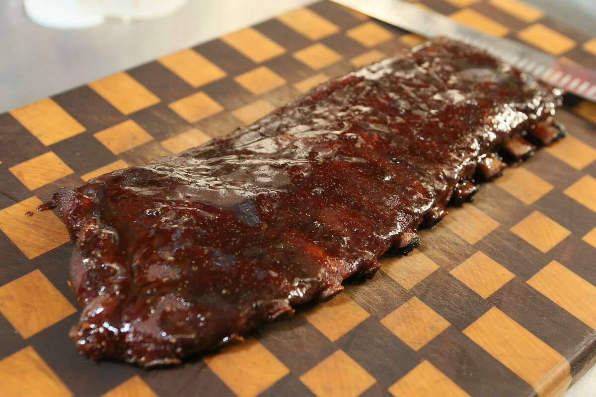 A finished rack of champion barbecue cook Corey Flores' St. Louis-style pork ribs using the same recipe that was good enough to win 1st place out of more than 300 cooks in the 2018 San Antonio Stock Show & Rodeo Bar-B-Que Cook-Off.