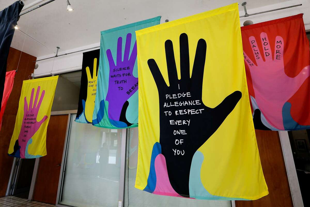 """Poet Naomi Shihab Nye wrote the text for """"I Pledge,"""" an exhibit in the Main Space galler at Artpace."""