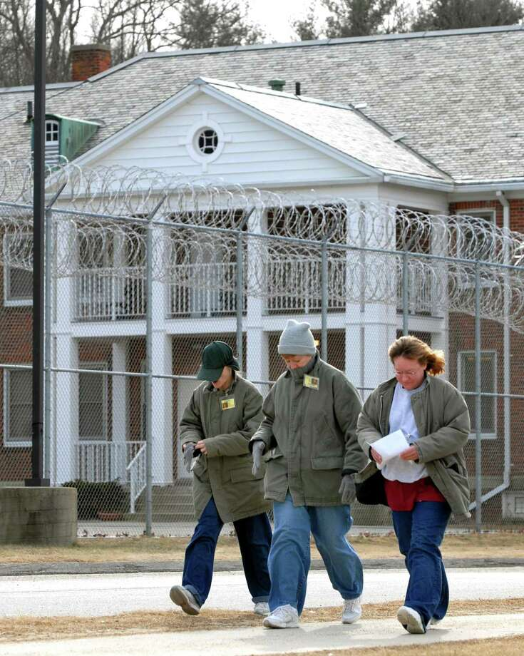 In a file photo, inmates at the York Correctional Institution in the Niantic section of East Lyme are shown on their way to lunch. Photo: /