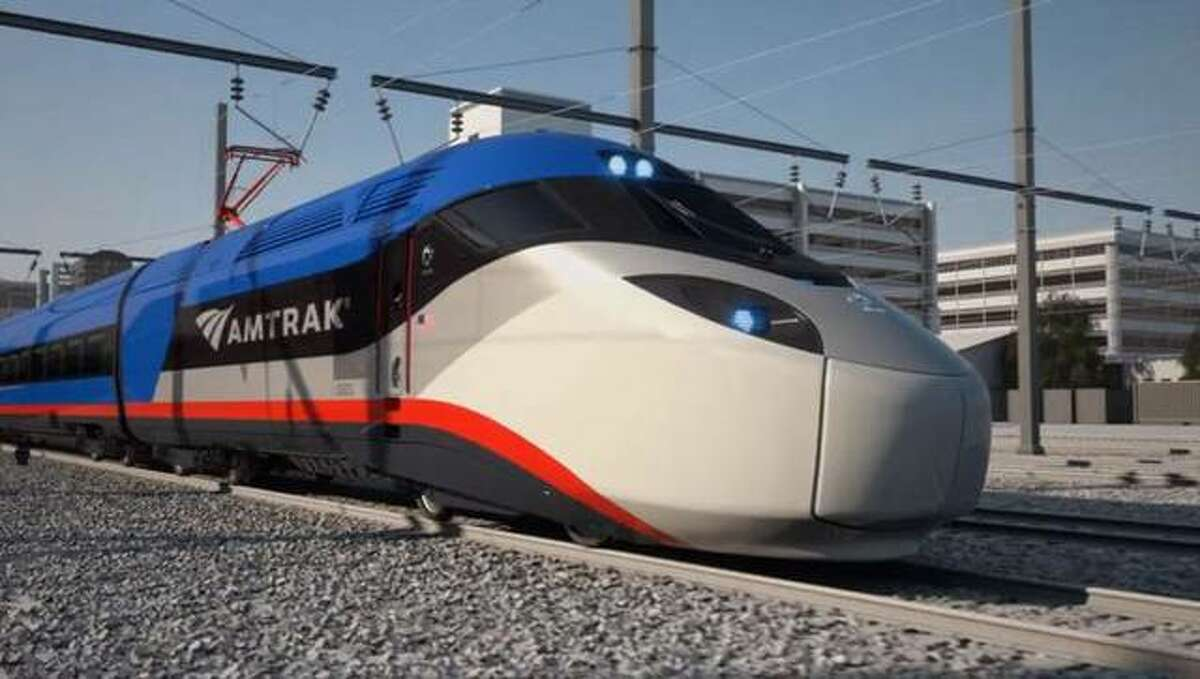 Concept art for Amtrak's proposed high-speed rail trainsets.