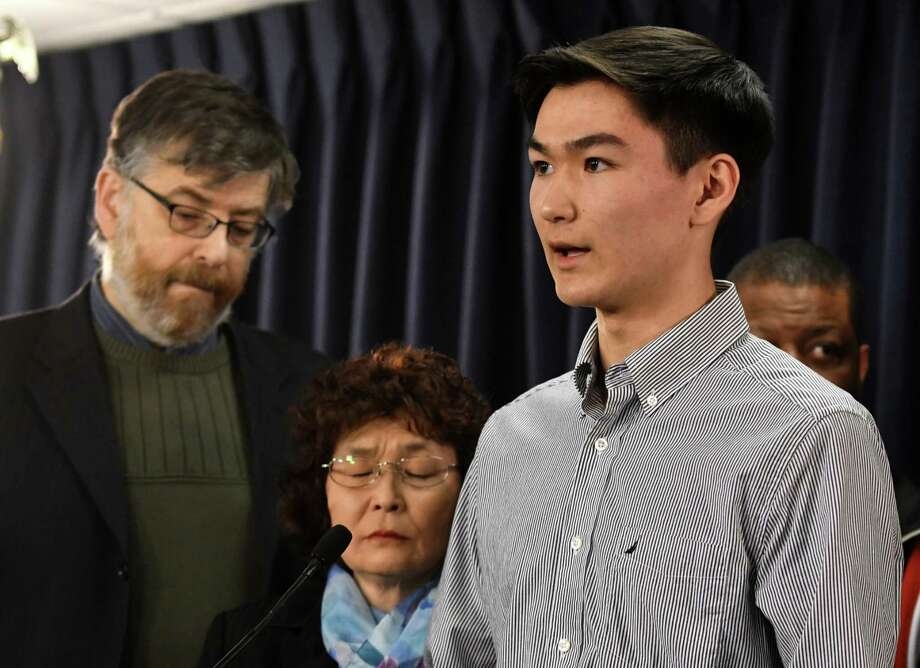 Stephen. H. Erickson, the son of sexual abuse victim Stephen J. Erickson is joined by his mother, Margaret Sorokey, center, and Gary Greenberg, founder of Fighting for Children PAC, left, during a press conference to bring attention to the Child Victims Act on Monday, Jan. 14, 2019, at the Legislative Office Building in Albany, N.Y. The Child Victims Act expected to pass this month after being blocked by Senate GOP for years. (Will Waldron/Times Union) Photo: Will Waldron, Albany Times Union / 40045913A