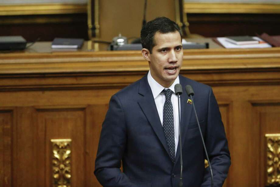 Juan Guaido, president of the National Assembly, speaks after a swearing in ceremony at the Federal Legislative Palace in Venezuela on Saturday, Jan. 5. Photo: Bloomberg Photo By Marco Bello. / Bloomberg