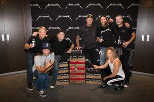Metallica and Stone Brewing teamed up to brew a collaboration pilsner, Enter Night.    Pictured: Steve Wagner, Stone Brewing co-founder; Robert Trujillo, Metallica bassist; Lars Ulrich, Metallica drummer; James Hetfield, Metallica lead vocalist; Greg Koch, Stone Brewing co-founder; Kirk Hammett, lead guitarist; Dominic Engels, Stone Brewing CEO.