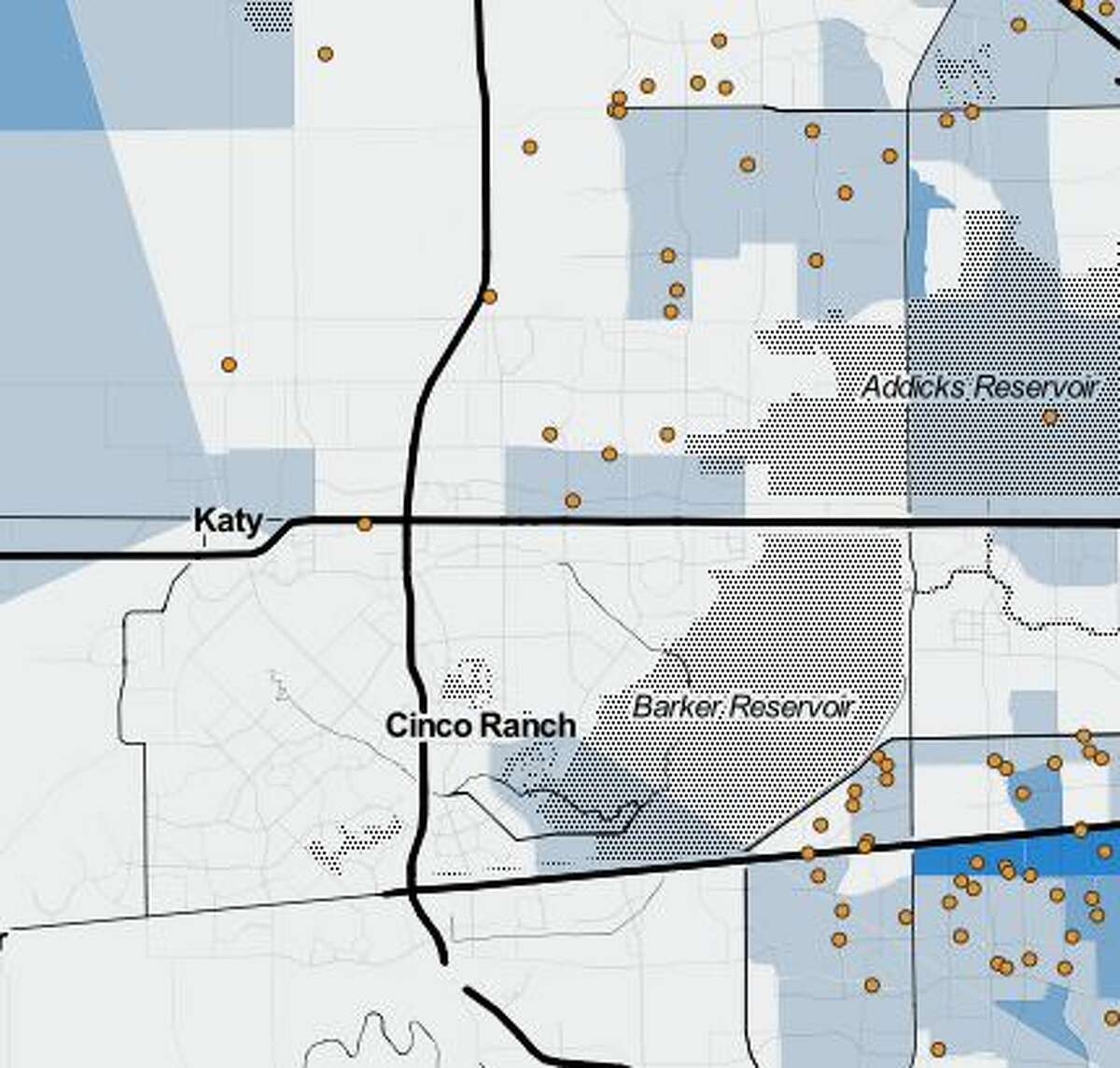 Katy/Cinco RanchEach orange dot represents 100 households receiving vouchers. Areas shaded with darker blue colors indicate a higher poverty rate in that area.