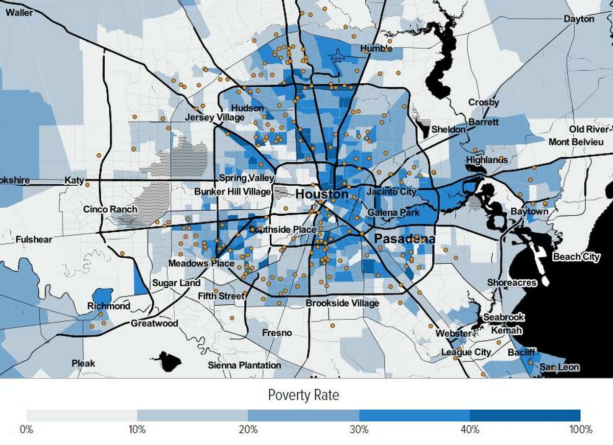 A new interactive map from the Center on Budget and Policy Priorities shows where voucher-receiving households live in the Greater Houston area. As can be seen in the map above, households located farther east and north of central Houston receive the most assistance and live in high poverty, low opportunity neighborhoods. Each orange dot represents 100 households receiving vouchers.
