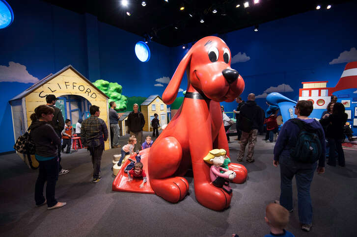 Clifford the Big Red Dog overlooks his playground.